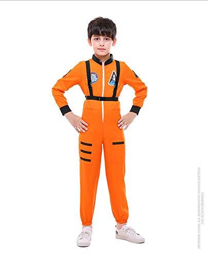 FDHNDER Child Cosplay Kleid Verrücktes Kleid Partei Kostüm Outfit Kinder Raumkostüm Piloten Overall Baseball Uniform, orange, L (Höhe 120-130)