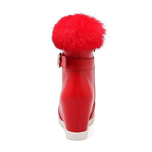 VogueZone009 Femme Rond à Talon Haut Matière Souple Haut Bas Couleur Unie Bottes Rouge