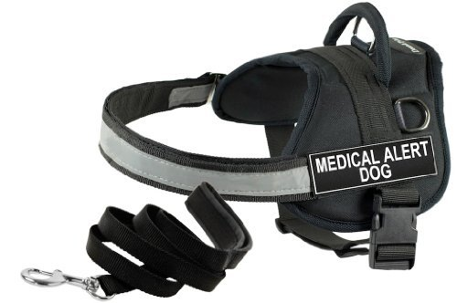 Dean and Tyler Bundle One DT Works Harness, Medical Alert Dog, Large (86cm, 119cm) with Matching Padded Puppy Leash, 183cm Stainless Snap, Black (Alert Harness Dog Medical)