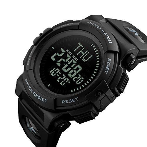 CQY Outdoor Military Männer Sport Digitaluhr mit Überleben Kompass Countdown 3 Alarm Stoppuhr Großes Gesicht 50 Mt Wasserdicht,Gray