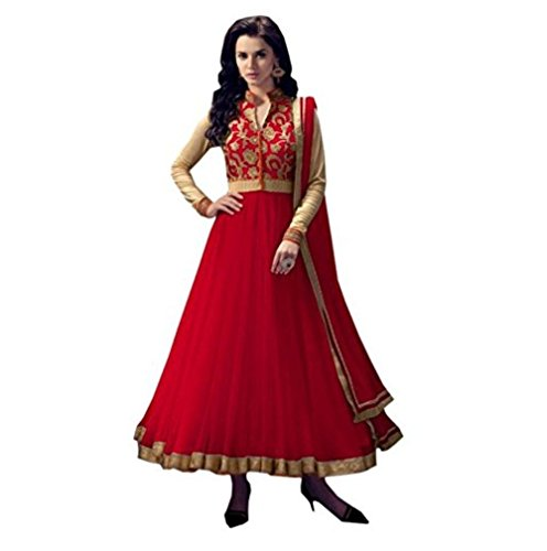 JIYAN FASHION EMBRODERY ANARKALI SALWAR SUIT WITH DUPATA(SEMI-STICHED) (RED)
