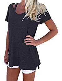 Yeamile���� Camiseta de Mujer Tops Suelto Blusa Causal Camisetas Ocasionales Moda Camiseta de Manga Corta de Mujer Tops de Verano Blusa con Cuello en V (Gris Oscuro, M)