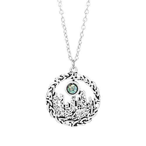 Oce180anYLV schöne Necklace, Women Vintage Mountain Rhinestone Celtic Knot Hollow Pendant Necklace Schmuck - Womens Celtic Schmuck