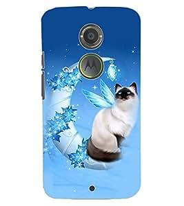ColourCraft Lovely Cat Design Back Case Cover for MOTOROLA MOTO X2
