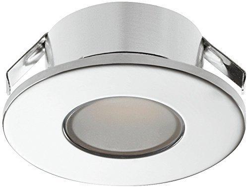 LED Möbel-Einbauleuchte verchromt poliert Unterbauleuchte 2022 Spotleuchte rund | Möbelleuchte warmweiß 3000 K - 12V | LED-Anbauleuchte IP44 geprüft & spritzwassergeschützt für Einsatz in Feuchträumen & Badezimmer | Möbelbeschläge von GedoTec®
