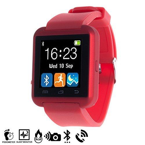 """DAM - Smartwatch Multifunción Bluetooth Rojo, envío y recepción de llamadas, marcador, notificación de aplicaciones (dos App disponibles para Android: """"btnotification"""" (Woo Parner) / """"FUNDO WEAR""""), podómetro, recordatorio de hidratación, anti pérdida, alarmas, calendario, recordatorio de hidratación. Batería de 230mAh de hasta 160 horas de duración (modo reposo)."""