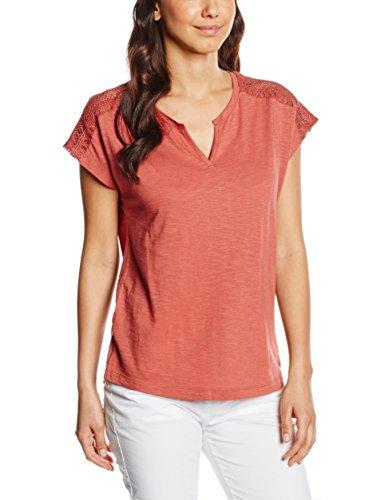 s.Oliver Mit Häkelspitzeinsatz, T-Shirt Femme Rouge - Rot (rusty red 3847)
