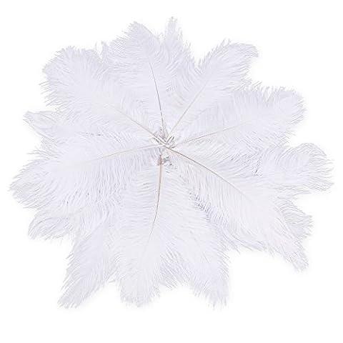 Plume Blanche - Tinksky 20pcs 25-30cm naturel autruche plumes grandes