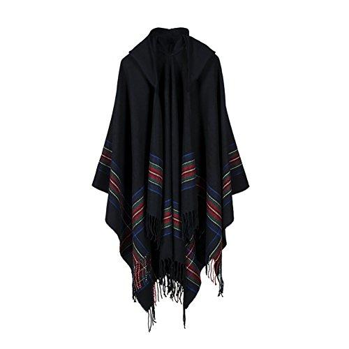 ishine Unisex Umhang Tartan Stil Retro Poncho Cape für Frau Mann Strickte Pélerine mit Quaste Warm Mantel von Wool Artificial für Winter Herbst Schwarz