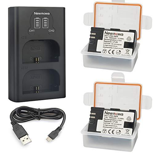 Newmowa LP-E6 Batteria (confezione da 2) e caricabatterie Dual USB intelligente per Canon EOS 5DS R, EOS 5DS, EOS 5D Mark IV, EOS 5D Mark III, EOS 5D Mark II, EOS 6D, EOS 7D, EOS 7D Mark II