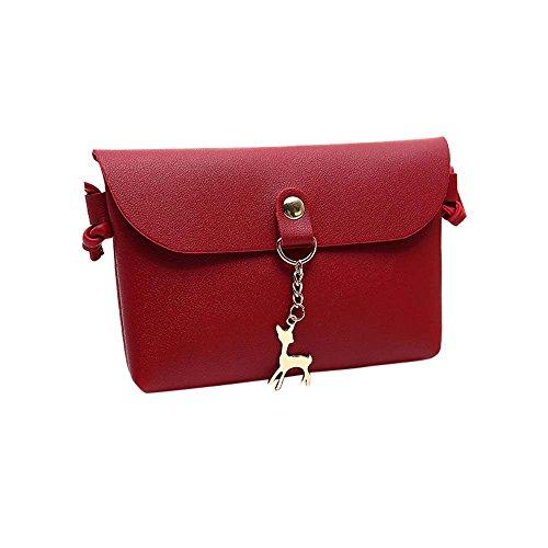 Damen Mini Kleine Leder Umhängetasche Hirsch Crossbody Frauen Retro Handtasche (Rot) (Crossbody Handtaschen Retro)