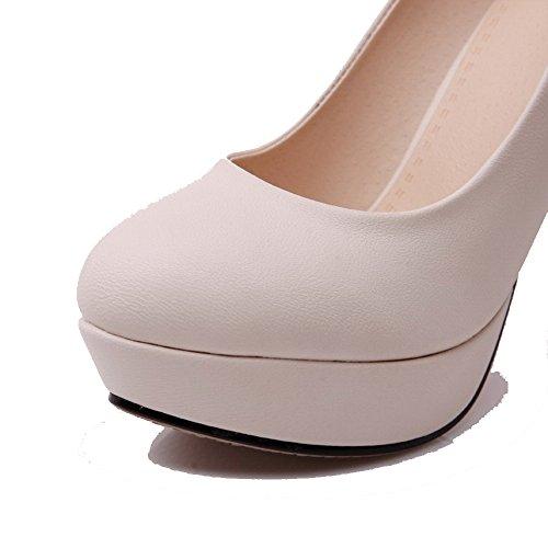 AllhqFashion Femme Rond Tire Pu Cuir Couleur Unie à Talon Haut Chaussures Légeres Abricot