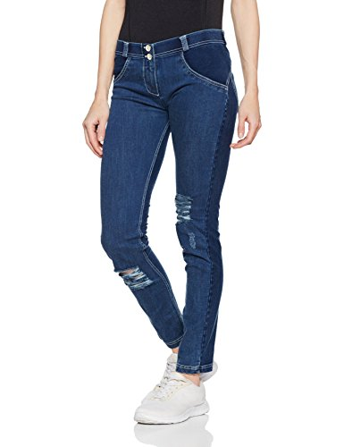 Freddy WR.UP Damen Pushup Denim - Low Waist Skinny mit Denim Effekt - J3Y - Washed Blau (hellblau/denim)  M - Frauen Skinny Jeans 22 Größe Für