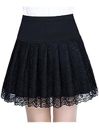 50273b7be88a DaBag Faltenrock Damen Mädchen Röcke Spitze Kilt Schwarz Rock Plissee Mini  Elegante Elastisch Hoher Bund Sommer Herbst Tellerrock…