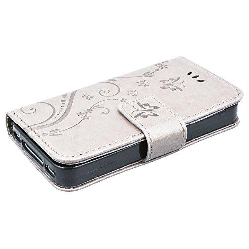 HB-Int PU Leder Hülle für iPhone 4 / 4S Wallet Lederhülle Standfunktion Kreditkartenfächer Handytasche Schmetterling Drucken Muster Schutzhülle mit Handschlaufe Magnetverschluss Ledertasche Klapp Etui Grau
