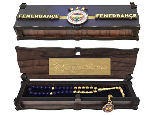 Gök-Türk Box Schatulle MIT Gravur aus Holz Handgemacht & Tesbih Gebetskette 'Fenerbahce' für Fußballfans, ColorName:mit Gravur