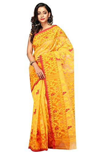 B3Fashion Women's Muslin Mixed Cotton Saree (Ags671_Yellow)