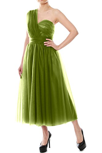 MACloth Tea Length Convertible Bridesmaid Dress Tulle Wedding Party Formal Gown (Custom Size, Olive Green)