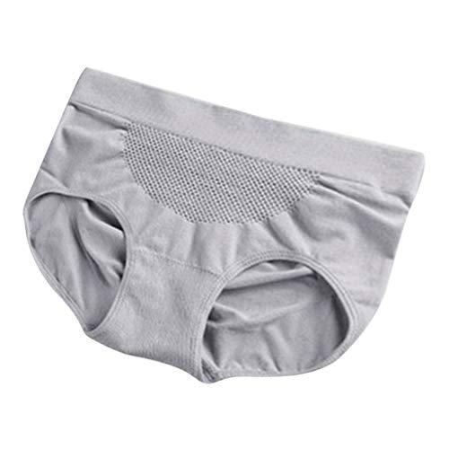 IPOTCH Damen Höschen Hohe Taille Hipster Baumwolle Frauen Unterwäsche Volle Slips Einfarbig Unterhose Bauchsteuer Höschen - Grau, Einheitsgröße - 4