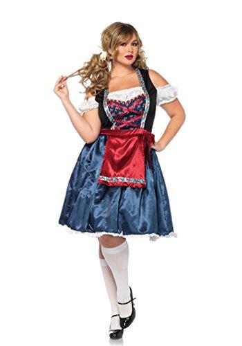 ostüm Dirndl Damen blau Luxus Plus Size Oktoberfest Trachten-kleid Damen Dirndl kurz Bayern-Kleid Tirolerin Damenkostüm 52/56 (Günstige Plus Size Halloween-kostüme)