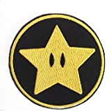 Gold Star Patch Super Mario Brothers bestickt Eisen/Nähen auf Badge Power Up Aufnäher Souvenir DIY Kostüm World Kart SNES