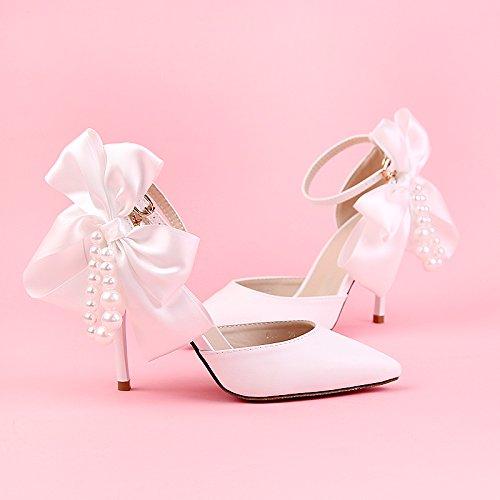 XIE Hochzeitsschuhe der Frauen / Brautjungfer und Braut / Satin Bowknot / Stiletto Ferse / Spitzzehe / High-heels Sandalen / weiß 9CM