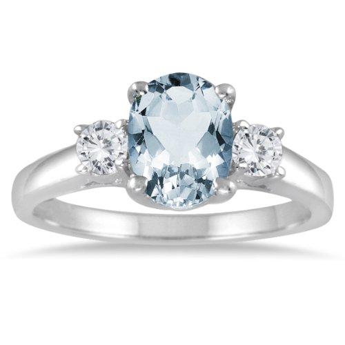 1.75 Carat Aquamarine and Diamond Three Stone Ring 14K White Gold