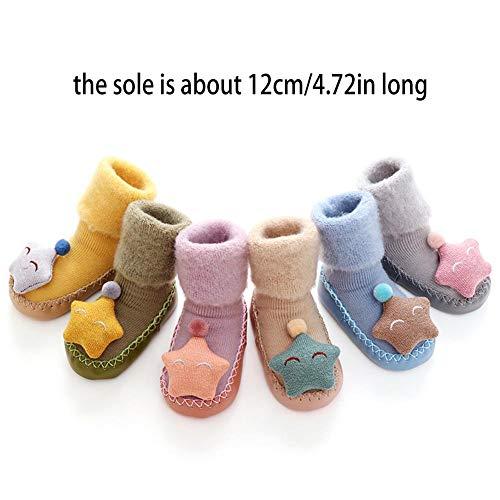 Wovemster Baby Boden Socken, Dicke Warme Und Rutschfeste Stern Puppe Muster Mit Glocke Für Kleinkind(Die Sohle ist ca. 12 cm lang) -
