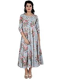 ANAYNA Women's Cotton Printed Anarkali Long Kurta With Umbrella Cut (Blue)