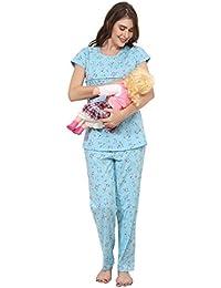 ZEYO Women's Cotton Blue & Peach Feeding Night Suit | Nursing Night Dress with Floral Print | Breastfeeding Night wear| Half Sleeve Baby Feeding Top and Pyjama Set