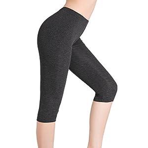 Damen Hose Unter Rock Kurz Leggings 3/4 Sport Capri Leggins – Elastisch Leicht