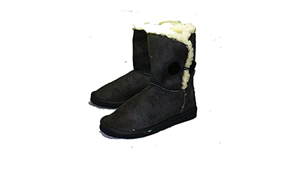 Sendit4me Grey Fur Edged Button Detail Winter Snugg Fitting Boots Ladies