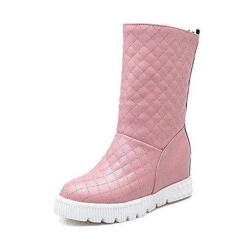 Spitze Ziehen auf Mittler Absatz Rund Zehe Stiefel, Pink, 43 (Kostüme Plattform Stiefel)