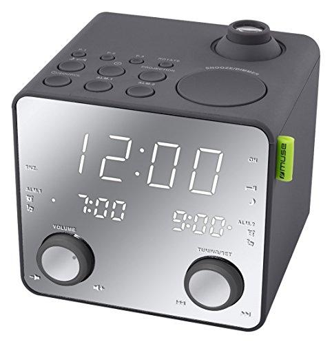 Muse M-189 Radiowecker mit Projektion (2 Weckzeiten, Dimmer, USB-Lader, PLL UKW Tuner, großes Display, AUX-In)