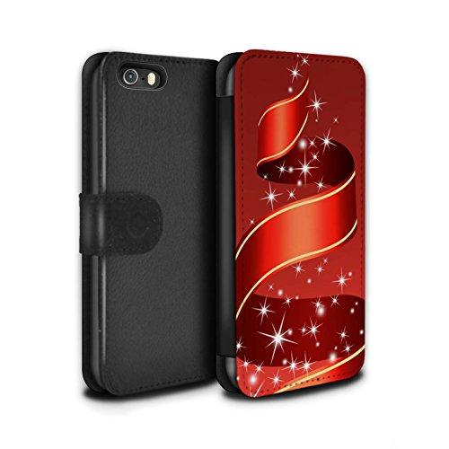 Stuff4 Coque/Etui/Housse Cuir PU Case/Cover pour Apple iPhone SE / Cloches/Ruban Design / Décoration Noël Collection Ruban/Rouge