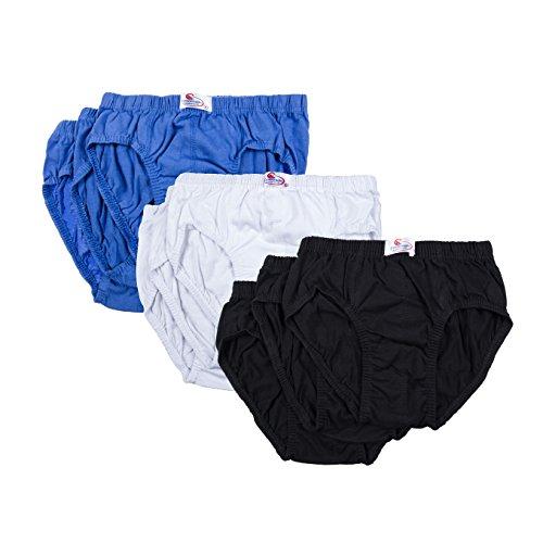 Kinder Slip Unterhosen 6er Pack einfarbig aus 100% Baumwolle mit Dehnbund Schwarz Weiß Blau, 3, Baumwolle 6X Weiß