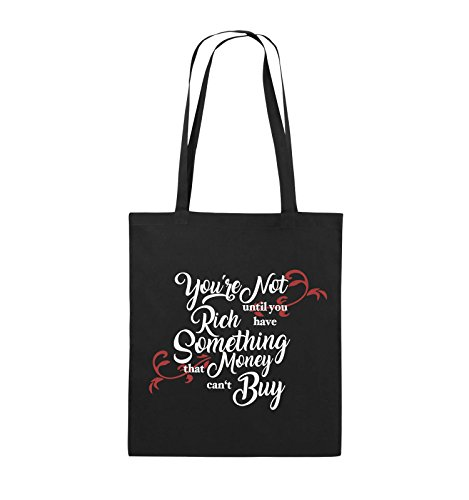 Comedy Bags - You're not rich until you have something that money can't buy - Jutebeutel - lange Henkel - 38x42cm - Farbe: Schwarz / Weiss-Neongrün Schwarz / Weiss-Rot