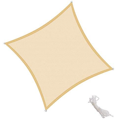 KingShade 2x2m Quadrat Wetterbeständig HDPE Sonnensegel, UV-Schutz Sonnenschutz Garten Balkon und Terrasse, Sand