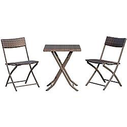 Outsunny Ensemble Meubles de Jardin Design Table carré et chaises Pliables résine tressée Imitation rotin Marron