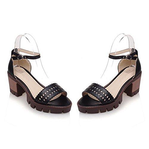 VogueZone009 Donna Puro Fibbia Punta Aperta Tacco Medio Heeled-Sandals Nero