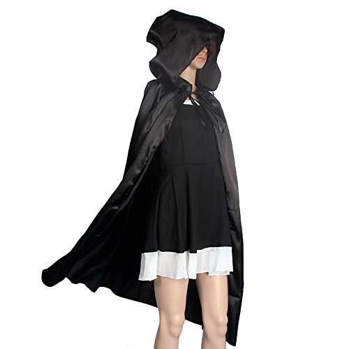 HLHN Damen Herren Halloween Party Kapuzen Umhang, Mittelalterlicher Hexe Satin Karneval Fasching Kostüm Cape mit Kapuze - 4 Größe & 3 Farbe für Kinder /Jugend/familien (S, ()