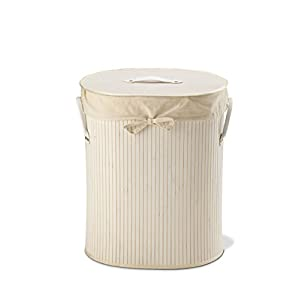 King Home p1120206Wäschekorb Bambus oval, weiß, Bianco, 41X31X50H