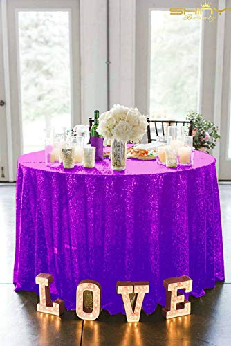 ShinyBeauty Sequin Tablecloth Purple 156-Inch Round