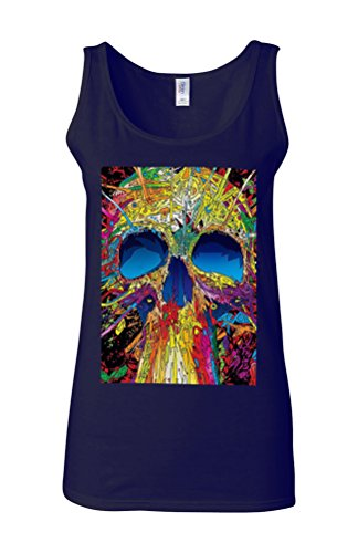 Skull Skeleton Art Drawing Retro Novelty White Femme Women Tricot de Corps Tank Top Vest Bleu Foncé
