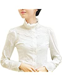 Blusa para mujer Nonbrand, de mangas largas, de invierno, diseño con encaje,