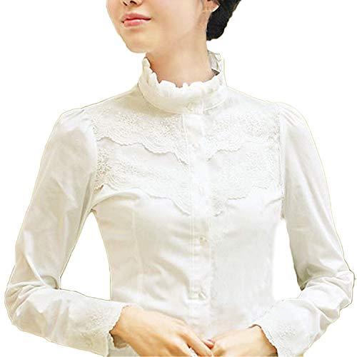 Blusa para mujer Nonbrand, de mangas largas, de invierno, diseño con encaje, estilo victoriano y vintage, para la oficina Blanco blanco 46