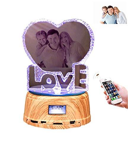 LIEBE Kristalllicht Personalisiertes Foto Farbwechsel LED Licht Bluetooth Musik(Holz 14.2 * 9cm) (Kristall-musik)