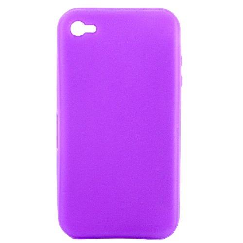 Luxburg® Elegante gepolsterte Pull Tab Stoff Schutzhülle Tasche Case für Apple iPhone 4 / 4S /4G - Grün Silikon - Lila