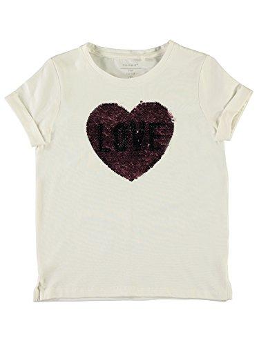 NAME IT Mädchen Bio T- Shirt Herz Pailetten Herz 13152676 Bright White Gr.110 - Herz Bio-kinder-t-shirt