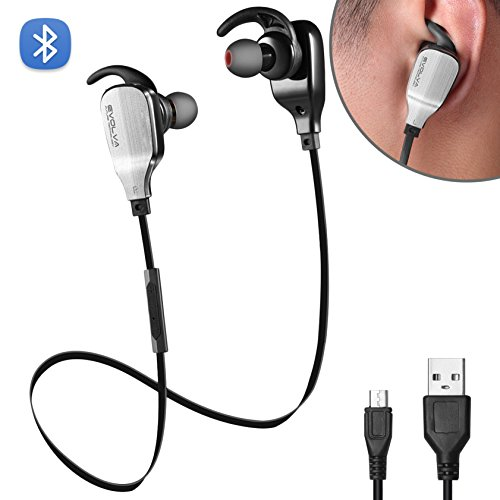 Evolva Future Technology Sport Wireless In-Ear Bluetooth Headphones with Built-In Microphone for IPhone, Samsung, Android Smartphones (Black)